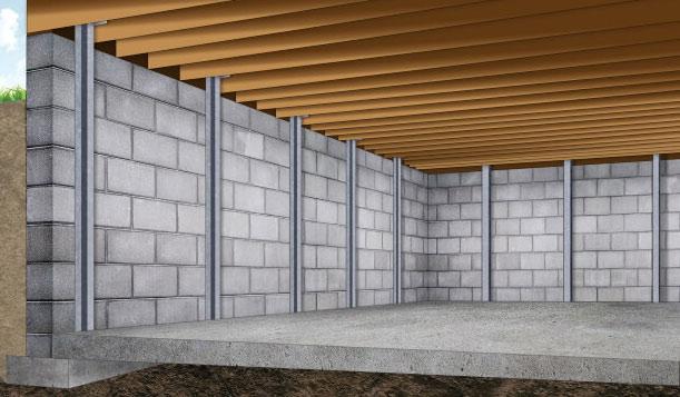 Basement I-beam wall bracing